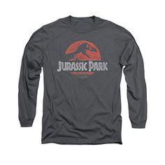 264d337179342 Jurassic Park Faded Logo Gray Long Sleeve T-Shirt Jurassic Park T Shirt