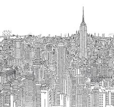 Drawing of #Manhattan in the 1960s by Robinson, in the book New York Line by Line. #NYC