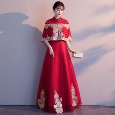Fabric: Polyester, Tulle Length: Full-Length Silhouette: A-line Collar: Mandarin Collar Pattern: Floral Embroidery Red Chinese Dress, Chinese Wedding Dress Traditional, Chinese Bride, Traditional Dresses, Black Wedding Dresses, Bridal Dresses, Chinese Wedding Dresses, Red Frock, Embroidery Dress