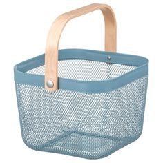 RISATORP Basket - blue - IKEA This basket makes it easy to access and get an overview of your fruit and vegetables, and has a decorative look. You can easily bring this basket with you for grocery shopping or picking home-grown vegetables in the garden. Small Storage, Storage Boxes, Storage Baskets, Extra Storage, Kitchen Cupboards, Kitchen Storage, Fintorp, Catalogue Ikea, Office Home