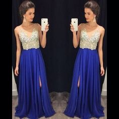 beaded prom dress, long prom dress, royal blue prom dress, chiffon prom dress, side slit evening dress,PD0010