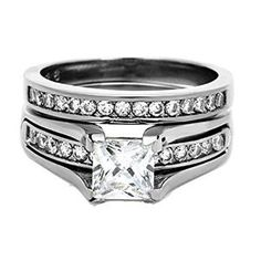 Women's Wedding Ring Set Sterling Silver 1.75 Ct Princess Cut AAA Cubic Zirconia available at joyfulcrown.com