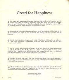 Rosicrucian creed of happiness