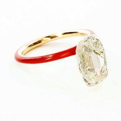 Taffin jewelry. Taveez Diamond & Red Ceramic Rose Gold Ring