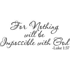 Design on Style 'For Nothing will be impossible with God Luke 1:37' Vinyl Art Quote (22 in x 9 in), Black, Size Large