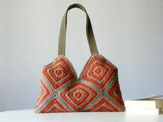 Crochet women bag Stripet crochet Bag granny square by NzLbags