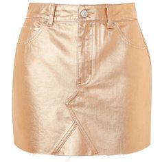 Topshop Moto Rose Gold Metalic Skirt (€38) ❤ liked on Polyvore featuring skirts, mini skirts, bottoms, rose gold, beige skirt, metal skirting, short skirts, mini skirt and short mini skirts