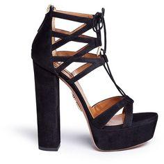 Aquazzura 'Beverly Hills' suede platform sandals ($825) ❤ liked on Polyvore featuring shoes, sandals, heels, black, salto, zapatos, chunky heel platform sandals, black lace up sandals, suede shoes and suede platform sandals