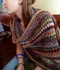 "Stashbuster Blarf--a Blanket + Scarf = Blarf. In order to get the pattern you have to ""Like"" on Facebook."