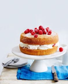 Try this twist on a Victoria sponge cake flavoured with lemon zest and sandwiched with raspberry jam and fresh cream – a scrumptious teatime treat. Lemon Sponge Cake, Sponge Cake Recipes, Lemon Cakes, Victoria Sponge Cake, Victoria Cakes, Cake Mixture, Classic Cake, Baking Tins, Cake Flavors