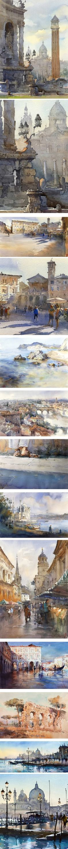 Igor Sava, watercolor cityscape Italy #watercolorarts
