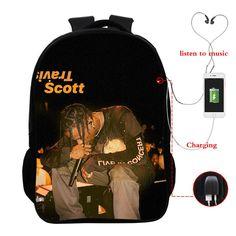 Travis Scott Full Printed School Backpack Book Bag With USA Charging Port Travis Scott Merch, Shirt Hoodies, School Backpacks, Listening To Music, Sweatpants, 3d, Printed, Easy, Books