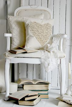 lovely shabby chic via Whimsical Raindrop Cottage Interior Desing, Heart Pillow, Heart Cushion, Pillow Talk, Shades Of White, Take A Seat, Cottage Chic, White Cottage, My New Room