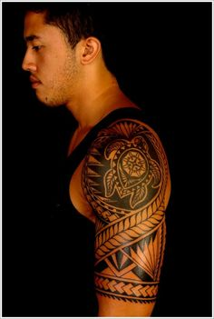 Traditional samoan tribal tattoo w/ sea navigation turtle on shoulder #samoan #tattoo