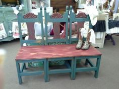 $185 - This rustic bench was created from three single chairs and is painted red and turquoise. The bench is 4 feet long 17 and a half inches deep and 43 inches at the tallest point. ***** In Booth D8 at Main Street Antique Mall 7260 E Main St (east of Power RD on MAIN STREET) Mesa Az 85207 **** Open 7 days a week 10:00AM-5:30PM **** Call for more information 480 924 1122 **** We Accept cash, debit, VISA, Mastercard, Discover or American Express