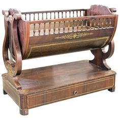 For Sale on - Louis Philippe or North European neoclassical fruitwood inlaid mahogany cradle, century, the half round cradle now fitted with a removable copper Baby Cradle Plans, Baby Cradle Swing, Baby Cradle Wooden, Baby Swings, Baby Furniture, Handmade Furniture, Unique Furniture, Baby Craddle, Biedermeier Sofa