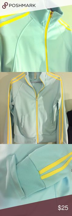 Timeless Superstar Jacket in Baby Blue Green color 3-Stripes yellow on the sleeves, side welt pockets, rubbed cuffs and hem, regular fit medium, 100% polyester Fishbowi Clothing Jackets & Coats Utility Jackets