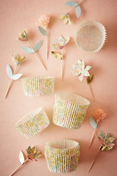 Cute cupcake tins & toppers #bridalshower