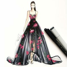 @marchesafashion sketched with @copicmarker #nyfw #marchesa #nyfw16