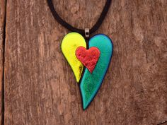Dichroic Fused Glass Heart Necklace by PureLightStudio on Etsy