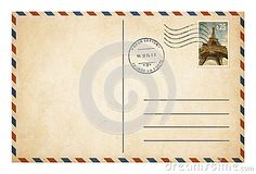 Old postcard or envelope with postage stamp isolat
