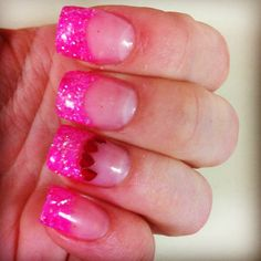 I've done my nails pink like this. Minus those hearts. N I really loved them. I always do the typical solar white tip