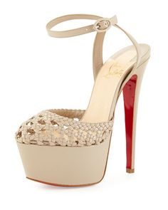 X2UMP Christian Louboutin Woven Leather Platform Red Sole Sandal, Taupe
