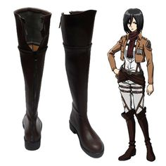 Attack on Titan Mikasa·Ackerman Brown Cosplay Shoes