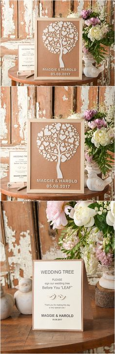 Rustic country laser cut heart tree wedding guest books @4LOVEPolkaDots