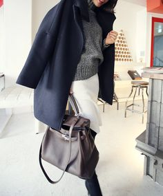 navy pea coat + grey knit + white jeans + hermes kelly bag