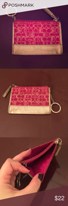 COACH-mini wallet with key chain Hot pink and silver trim, outside pocket, zip closure and key ring. Coach Bags Clutches & Wristlets