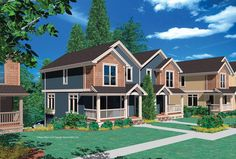 Double Garage Tucked into Hillside. Plan 4027 The Woodbury is a 1285 SqFt Country, Craftsman style home plan featuring and Upstairs Utility Room by Alan Mascord Design Associates. View our entire house plan collection on Houseplans.co.