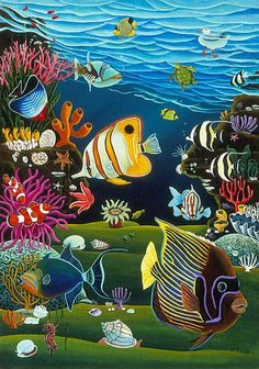 sea life - sea life photography - sea life underwater - sea life artwork - sea life watercolor sea l Coral Reef Drawing, Coral Reef Art, Art Drawings For Kids, Fish Drawings, Sea Life Art, Sea Art, Beautiful Sea Creatures, Underwater Painting, Fish Art