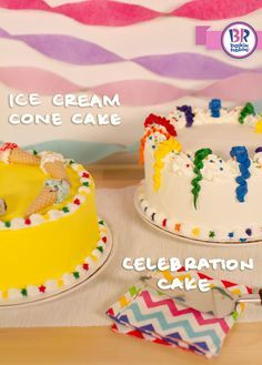 A customizable ice cream cake makes every occasion more special. For your next get together, try an Ice Cream Cone Cake or a Celebration Cake and let the good times roll!
