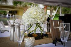 white hydrangea wedding centerpieces with burlap runner