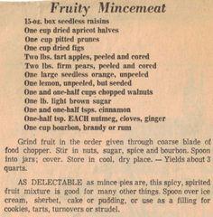 Fruity Mincemeat Recipe Clipping - Jessica's World Retro Recipes, Old Recipes, Vintage Recipes, Popular Recipes, Mince Meat, Mince Pies, Stew Meat Recipes, Canning Recipes, Homemade Mincemeat Recipe