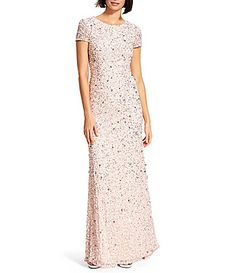 Adrianna Papell ShortSleeve Sequined Long Skirt Gown #Dillards