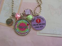Personalized Medical alert Diabetic  necklace for kids by emtabby, $20.00