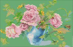 """Купить Схема вышивки бисером с полной зашивкой """"Розы в вазе"""" (002) - схема вышивки бисером"""
