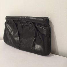 Vintage 80s Black Stay Open Clutch with Optional by MyVintagePoint