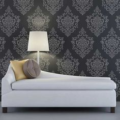 Damask Stencil option for bedroom accent wall. Wall Stencil | Ornamental Cartouche Stencil | Royal Design Studio