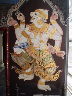 masterpiece of traditional Thai style painting art old about Ramayana story on temple wall,Thailand