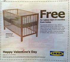 Funny Valentines-day IKEA ad with a special offer for baby-makers...