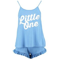Boohoo Petite Petite Liana Frill Hem Short Pyjama Set (2200 RSD) ❤ liked on Polyvore featuring intimates, sleepwear, pajamas, petite pajama sets, petite pajamas, petite loungewear, short pajamas and petite sleepwear