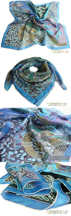 @FilkinaScarves #BlueScarf #PaintedScarf Hand Painted Silk Scarf Square silk scarf Floral Blue shawl