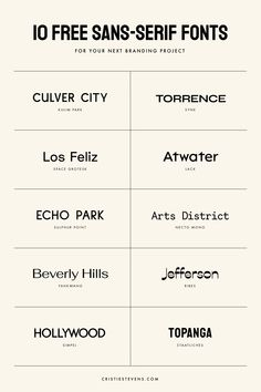Ten high-quality, diverse, and FREE sans-serif fonts to try for your next branding or design project. Free Fonts Sans Serif, Modern Sans Serif Fonts, Free Modern Fonts, Logo Fonts Free, Best Fonts For Logos, Best Fonts For Websites, Best Serif Fonts, Best Free Fonts, Font Free