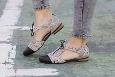 Nuevo Sandalias de cuero zapatos de serpiente cuero