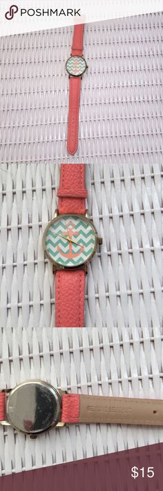 """Chevron Leather Watch Super cute nautical Geneva watch with genuine leather band in a coral color. Teal and white chevron face with coral anchor design ⚓️. Gold bezel, and hands. Only worn to model for Posh pic. Face measures approx 1.25"""" across and watch band measures 8.75"""" when laid flat. Geneva Accessories Watches"""