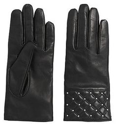 Hugo Boss Leather gloves with decorative stud trim: `DH 70`