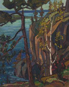 Arthur Lismer (Canadian, Bon Echo Rock, Oil on canvas, 32 ¾ x 26 ½ in. Emily Carr, Canadian Painters, Canadian Artists, Landscape Art, Landscape Paintings, Landscapes, Impressionist Landscape, Villa Romaine, Group Of Seven Artists
